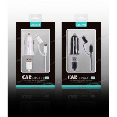 USAMS CC013 - 2.1A Dual USB Car charger + 2in1 Charger Cable (Apple & Android)