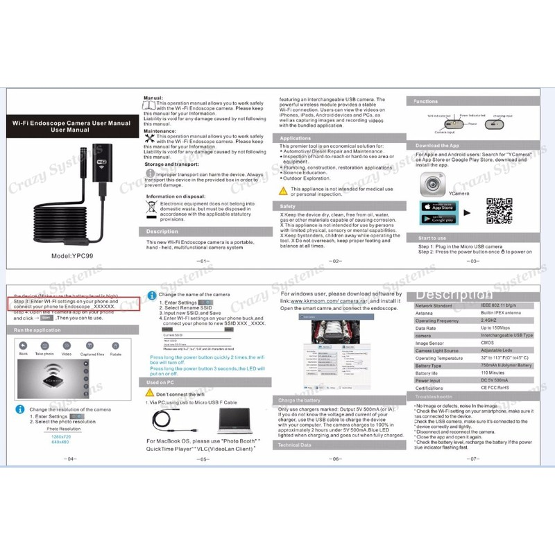 WIFI Mini Endoscope Camera - Waterproof Soft Adjustable
