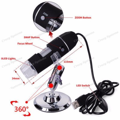 Electronic 5MP USB 8LED Digital Camera Microscope Endoscope Magnifier 50X~500X