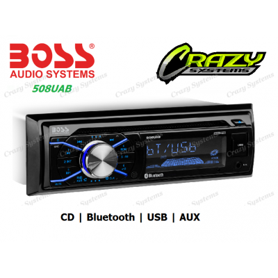 Boss 508UAB - 1-DIN, CD/MP3 Bluetooth, USB, Aux Car Stereo
