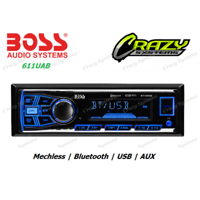 Boss 611UAB - 1-DIN, Mechless Bluetooth, USB, Aux, NZ Tuners, Car Stereo