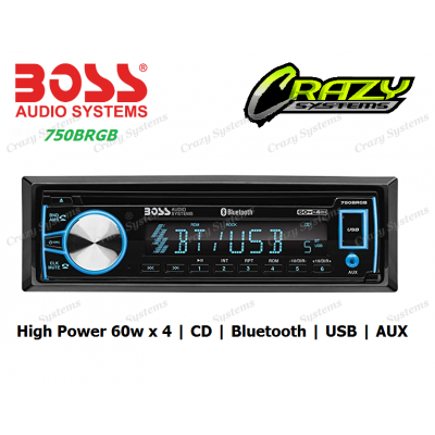 Boss 750BRGB - 1-DIN, CD/MP3 Bluetooth, USB, Aux, High Power 60w x 4 Car Stereo