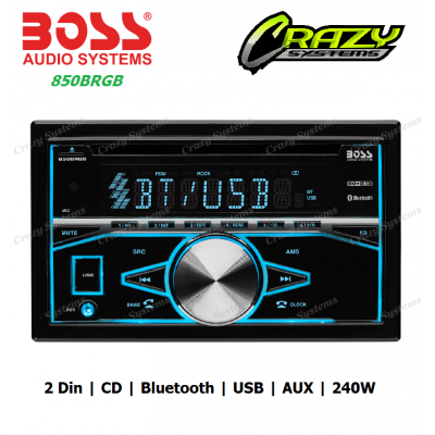 Boss 850BRGB - 2-DIN, CD/MP3 Player Bluetooth, High Power 80w x 4 Car Stereo
