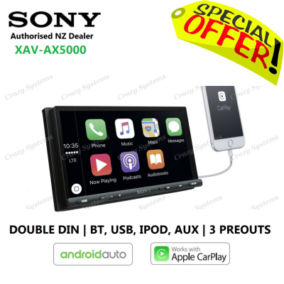 "SONY XAV-AX5000 | 7"" Apple CarPlay, Android Auto BT USB 3x Pre-Outs Car Radio"