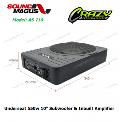 "Soundmagus AS-I10 Underseat 10"" Subwoofer 550W MAX Power"