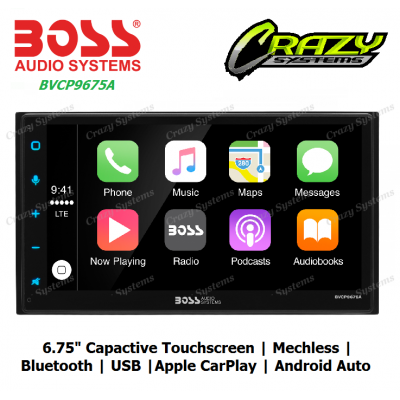 "Boss BVCP9675A - 6.75"" 2-DIN, Apple CarPlay, Android Auto, Mechless Multimedia"
