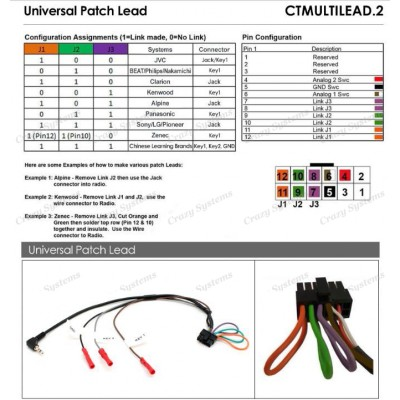 Connects2 Universal Stalk Steering Control Patch Lead CTMULTILEAD.2