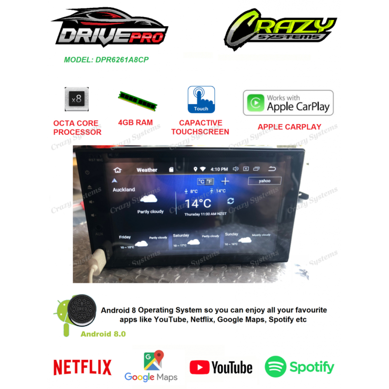 DrivePro Android 8.0 Carplay MirrorLink Bluetooth DVD GPS Octa Core Car Stereo