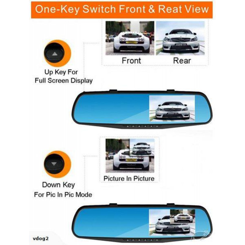 "4.3"" 1080P RearView Mirror + Front Camera + Rear Camera + inbuilt DVR recorder"