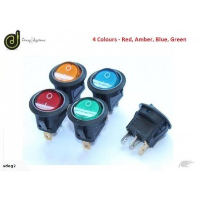 12V   20A - Full Color LED Illuminated Rocker Switch - 20mm