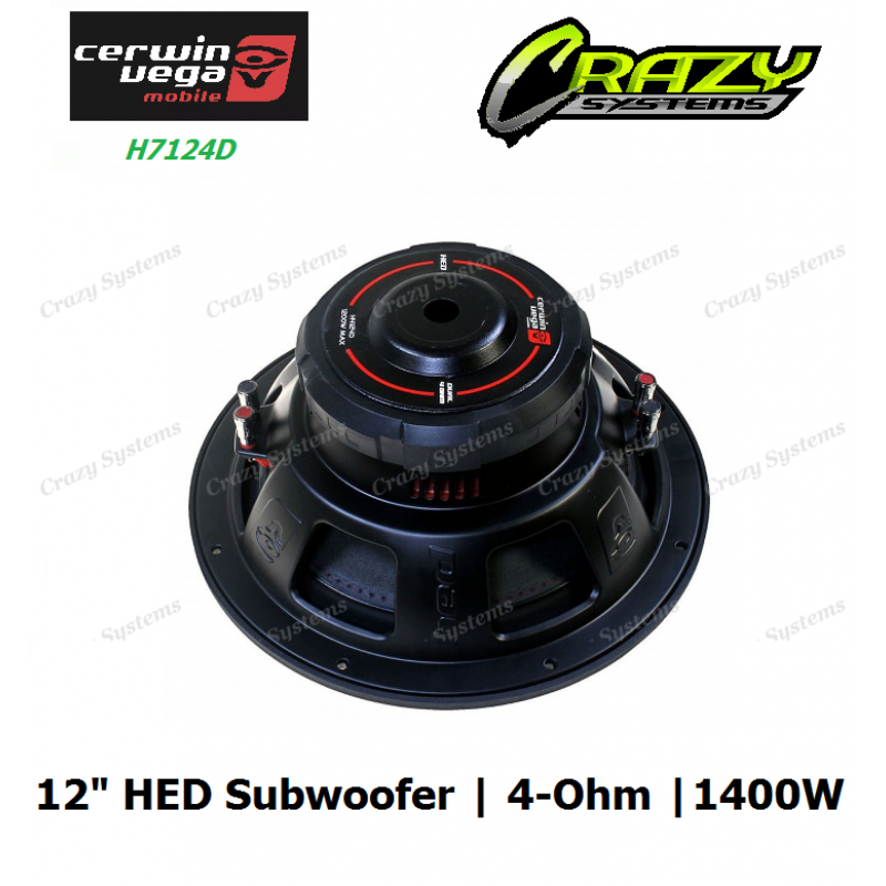 """Cerwin-Vega H7124D 12"""" HED series 4-ohm 1400 Watts / RMS: 250 Watts"""