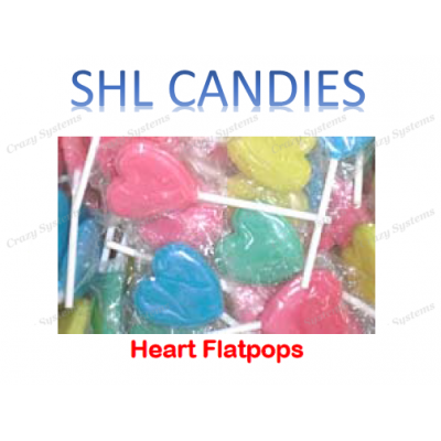 Heart Flat Lollipops Wrapped *SHL Candies* (apx 200pc)