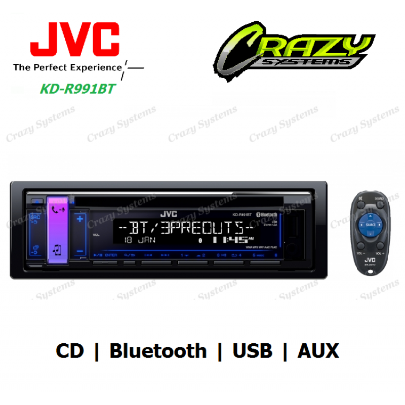 JVC KD-R991BT CD Receiver with Bluetooth / USB / AUX / TUNER STEREO