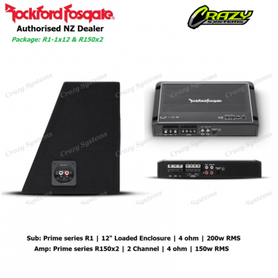 "Rockford Fosgate Combo Bass Package - R1-1x12 12"" Subwoofer & R150x2 Amplifier"
