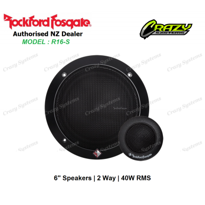 "ROCKFORD FOSGATE R16-S PRIME SERIES 40W RMS 2-Way 6"" Component Speakers"
