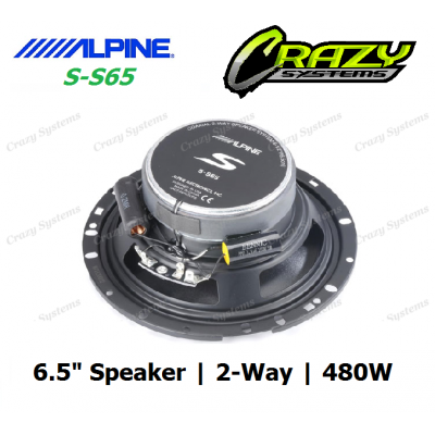 "ALPINE (S-S65) 6.5"" 480W Type-S 2-Way Coax Speaker"