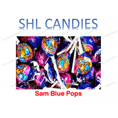 Sam Blue Pops Lollipops Wrapped *SHL Candies* (2.5kg bag | apx 200pc)