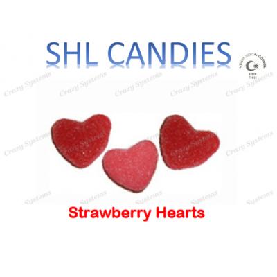 Gummi Sour Strawberry Hearts Candy *SHL Candies* - (2kg bag   apx 415pcs)