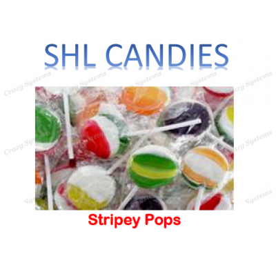 Stripey Flat Pops Lollipops Wrapped *SHL Candies* (2.6kg bag | apx 200pc)