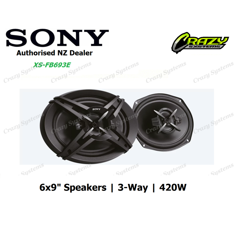 "SONY XS-FB693E 6X9"" 420W 3-WAY COAXIAL SPEAKERS"