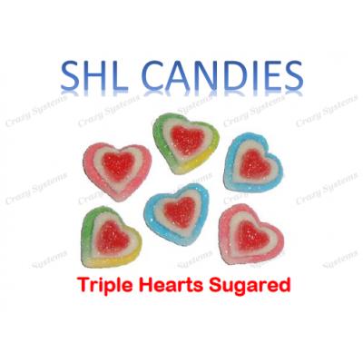 Gummi Sugar Coated Triple Hearts Candy *SHL Candies* - (2kg bag   apx 345pcs)
