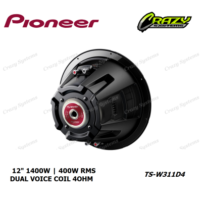 "PIONEER TS-W311D4 - (400W RMS) *4 Ohm* DUAL VOICE COIL 12"" CHAMPION SERIES SUB"