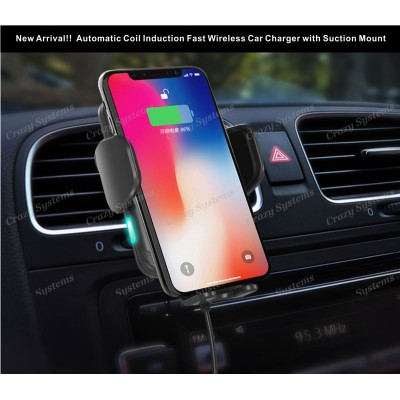 Universal Auto Closing, 10W Wireless Car Charger with Suction & Air Vent Mount
