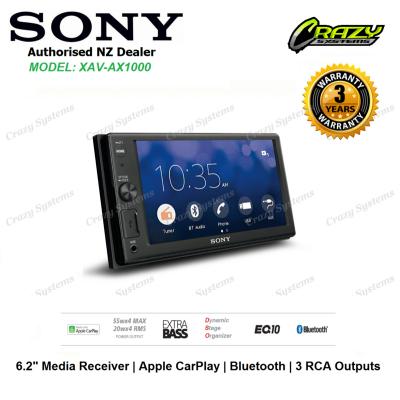 "Sony XAV-AX1000 6.2"" Media Player with Apple CarPlay, Bluetooth, USB, 3 PreOuts"