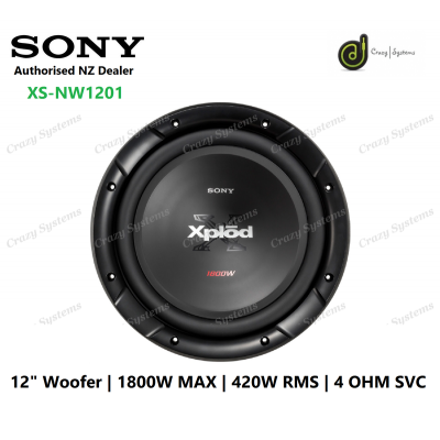"Sony XS-NW1201 12"" 1800W (420W RMS) 4 ohm Single Voice Coil Car Subwoofer"